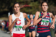 New York, New York  - Twins Gabrielle Orie of Cornell and Danielle Orie of the University of Pennsylvania compete in the women's Ivy League Heptagonal cross country championship meet at Van Cortlandt Park in the Bronx on Oct. 26, 2017. Gabrielle finished seventh and Danielle finished eighth. Both were timed in 21 minutes, 20 seconds on the 6-kilometer course.