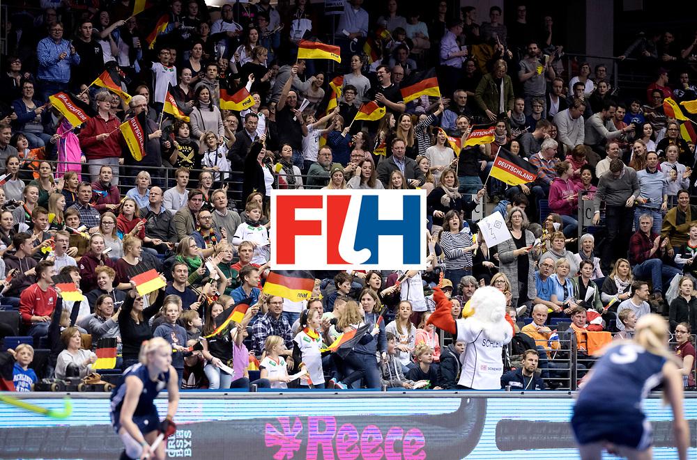 BERLIN - Indoor Hockey World Cup<br /> Semi-final: Belarus - Germany<br /> foto: German fans.<br /> WORLDSPORTPICS COPYRIGHT FRANK UIJLENBROEK