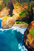 Honopu Arch and Honopu Beach on the Na Pali Coast (aerial), Napali Coast Wilderness State Park, Kauai, Hawaii USA
