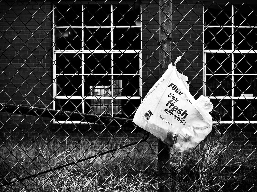 Plastic Food Lion bag tied to a fence in an urban area of Charlotte. The bag states, Food, (Food Lion), easy, fresh, affordable.