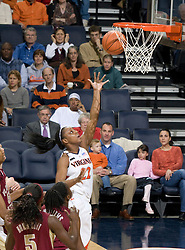 Virginia guard Monica Wright (22) shoots against FSU.  The Virginia Cavaliers women's basketball team defeated the Florida State Seminoles 77-58 at the John Paul Jones Arena in Charlottesville, VA on February 10, 2008.