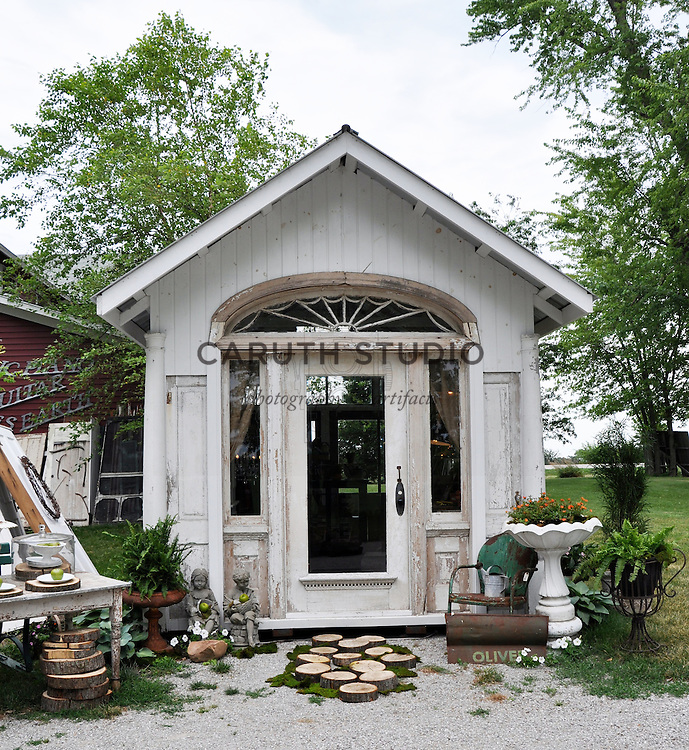Architectural Salvage Shed: Potting shed made from vintage doors and windows