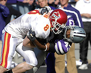 Kansas State linebacker Antwon Moore (43) wraps up Iowa State wide receiver Austin Flynn (8) in the first half at Bill Snyder Family Stadium in Manhattan, Kansas, October 28, 2006.  The Wildcats beat the Cyclones 31-10.<br />