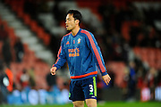 Southampton defender Maya Yoshida in the warm up before the Barclays Premier League match between Bournemouth and Southampton at the Goldsands Stadium, Bournemouth, England on 1 March 2016. Photo by Graham Hunt.