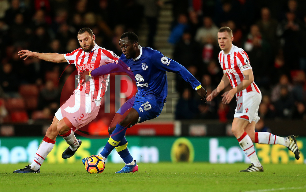Romelu Lukaku of Everton is challenged by Erik Pieters of Stoke City - Mandatory by-line: Matt McNulty/JMP - 01/02/2017 - FOOTBALL - Bet365 Stadium - Stoke-on-Trent, England - Stoke City v Everton - Premier League