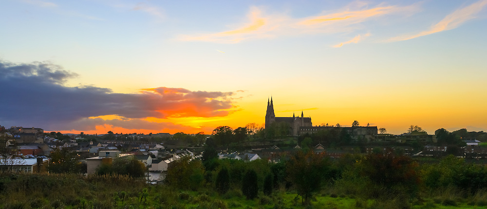 Sunset overlooking the City of Armagh including St. Patrick's Roman Catholic Cathedral