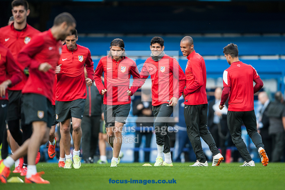 Atletico Madrid's Diego Costa (centre) during training at Stamford Bridge, London ahead of their UEFA Champions League semi final second leg against Chelsea.<br /> Picture by Daniel Hambury/Focus Images Ltd +44 7813 022858<br /> 29/04/2014