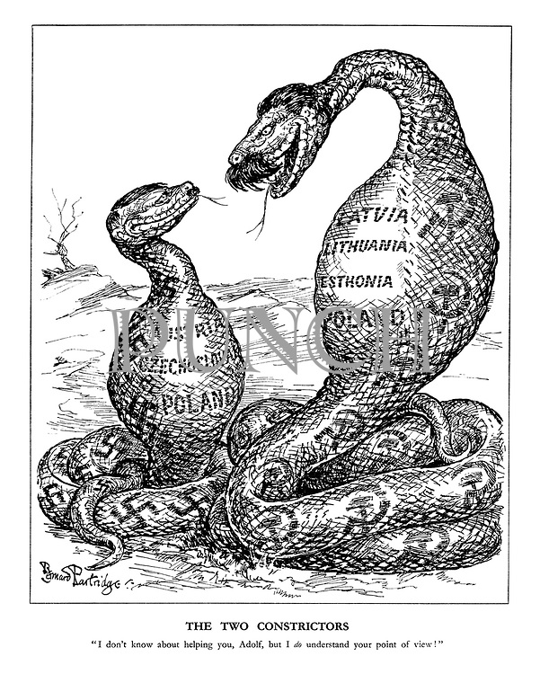 "The Two Constrictors. ""I don't know about helping you, Adolf, but I do understand your point of view."" (Hitler and Stalin as snakes having swallowed Austria, Czechoslovakia, Poland, Latvia, Lithuania and Estonia between themselves)"