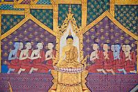 Thailande, Bangkok, le Wat Pho, temple du Bouddha couché, peintures murales // Thailand, Bangkok, Wat Pho, sleeping Buddha temple, wall painting