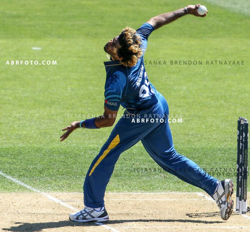 Lasith Malinga bowling during the 2015 ICC Cricket World Cup Pool A group match between England Vs Sri Lanka at the Wellington Regional Stadium, Wellington, New Zealand.