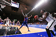 14/10/2016 Terrance Ferguson defends the inbound pass of Melbourne United guard Cedric Jackson as he makes his debut in front of the Adelaide 36ers home crowd as the Adelaide 36ers vs Melbourne United at the Titanium Security Arena.