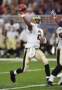 ST. LOUIS - SEPTEMBER 23:  Quarterback Aaron Brooks #2 of the New Orleans Saints unloads a pass while throwing for 230 yards and 2 touchdowns against the St. Louis Rams at the Edward Jones Dome on September 23, 2005 in St. Louis, Missouri. The Rams defeated the Saints 28-17. ©Paul Anthony Spinelli *** Local Caption *** Aaron Brooks