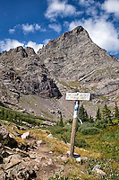 A flyer for a missing hiker was attached to this sign pointing to the Crestone Needle trail. The Crestone Needle (14,203ft) is a classic difficult climb and several hikers have lost their lives in an attempt to summit it.