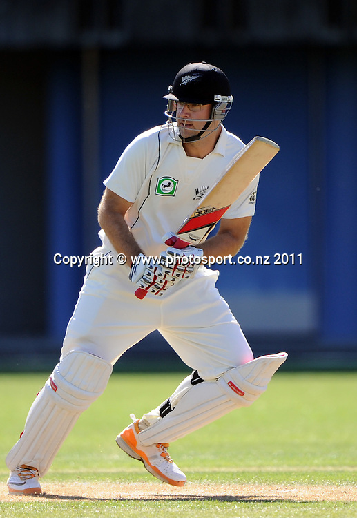 Daniel Vettori batting on day 1 of the first cricket test, New Zealand v Zimbabwe at McLean Park. Thursday 26 January 2012. Napier, New Zealand. Photo: Andrew Cornaga/Photosport.co.nz