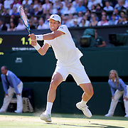 LONDON, ENGLAND - JULY 14: Thomas Berdych of the Czech Republic in action against Roger Federer of Switzerland in the Gentlemen's Singles Semi-final of the Wimbledon Lawn Tennis Championships at the All England Lawn Tennis and Croquet Club at Wimbledon on July 14, 2017 in London, England. (Photo by Tim Clayton/Corbis via Getty Images)