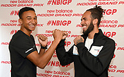 Donavan Brazier (left) and Boris Berian pose during a  press conference prior to the New Balance Indoor Grand Prix in Boston on Friday, Feb. 9, 2018.