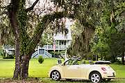 A convertible Volkswagen beetle under a Live Oak tree at a home in the village of McClellanville, South Carolina.