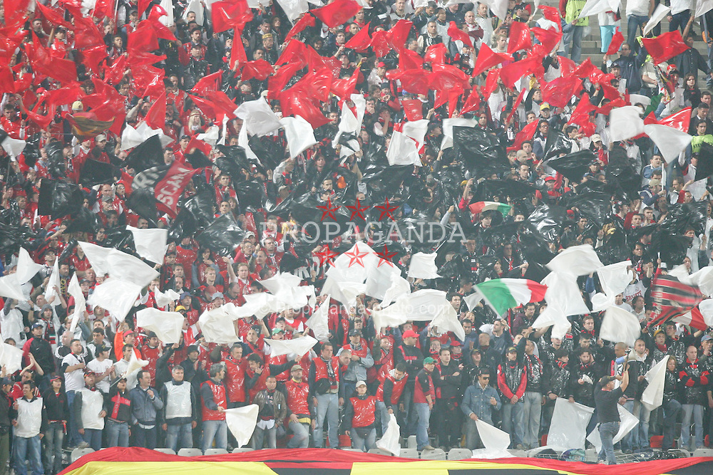 ISTANBUL, TURKEY - WEDNESDAY, MAY 25th, 2005: AC Milan's fans during the UEFA Champions League Final at the Ataturk Olympic Stadium, Istanbul. (Pic by David Rawcliffe/Propaganda)