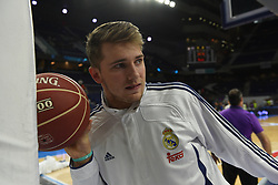 May 31, 2017 - Madrid, Madrid, Spain - Luca Doncic, #4 of Real Madrid streches prior of the first game of the semifinals of basketball Endesa league between Real Madrid and Unicaja de Málaga. (Credit Image: © Jorge Sanz/Pacific Press via ZUMA Wire)