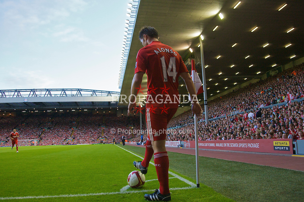 LIVERPOOL, ENGLAND - Friday, August 8, 2008: Liverpool's Xabi Alonso prepares  in action against Lazio during a pre-season friendly match at Anfield. (Photo by David Rawcliffe/Propaganda)