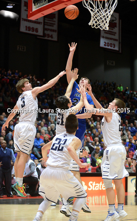 Laura Stoecker/lstoecker@dailyherald.com<br /> Geneva's Nate Navigato shoots over a swarming block of Lake Park players in the third quarter of the Class 4A DeKalb super-sectional Tuesday.