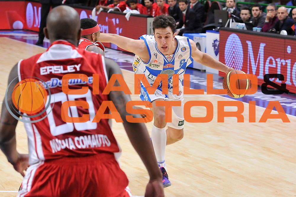 DESCRIZIONE : Campionato 2014/15 Dinamo Banco di Sardegna Sassari - Giorgio Tesi Group Pistoia<br /> GIOCATORE : Giacomo Devecchi<br /> CATEGORIA : Palleggio Penetrazione<br /> SQUADRA : Dinamo Banco di Sardegna Sassari<br /> EVENTO : LegaBasket Serie A Beko 2014/2015<br /> GARA : Dinamo Banco di Sardegna Sassari - Giorgio Tesi Group Pistoia<br /> DATA : 01/02/2015<br /> SPORT : Pallacanestro <br /> AUTORE : Agenzia Ciamillo-Castoria / Luigi Canu<br /> Galleria : LegaBasket Serie A Beko 2014/2015<br /> Fotonotizia : Campionato 2014/15 Dinamo Banco di Sardegna Sassari - Giorgio Tesi Group Pistoia<br /> Predefinita :
