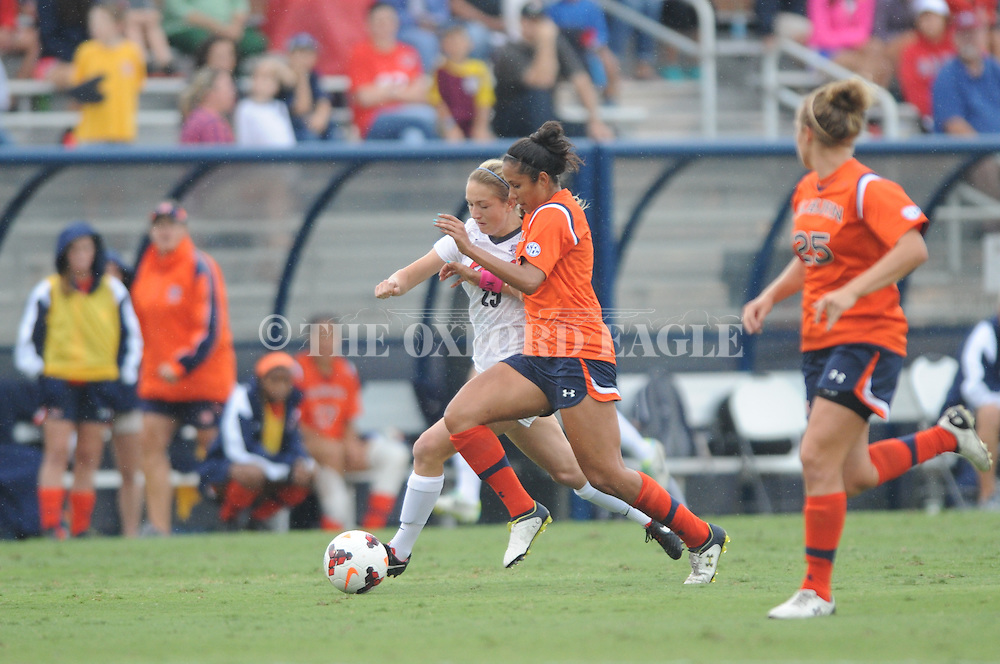 Ole Miss' Addie Forbus (25) vs. Auburn's Bianca Sierra (7) in women's college soccer action at the Ole Miss Soccer Stadium in Oxford, Miss. on Sunday, September 29, 2013. Ole Miss won 7-0.