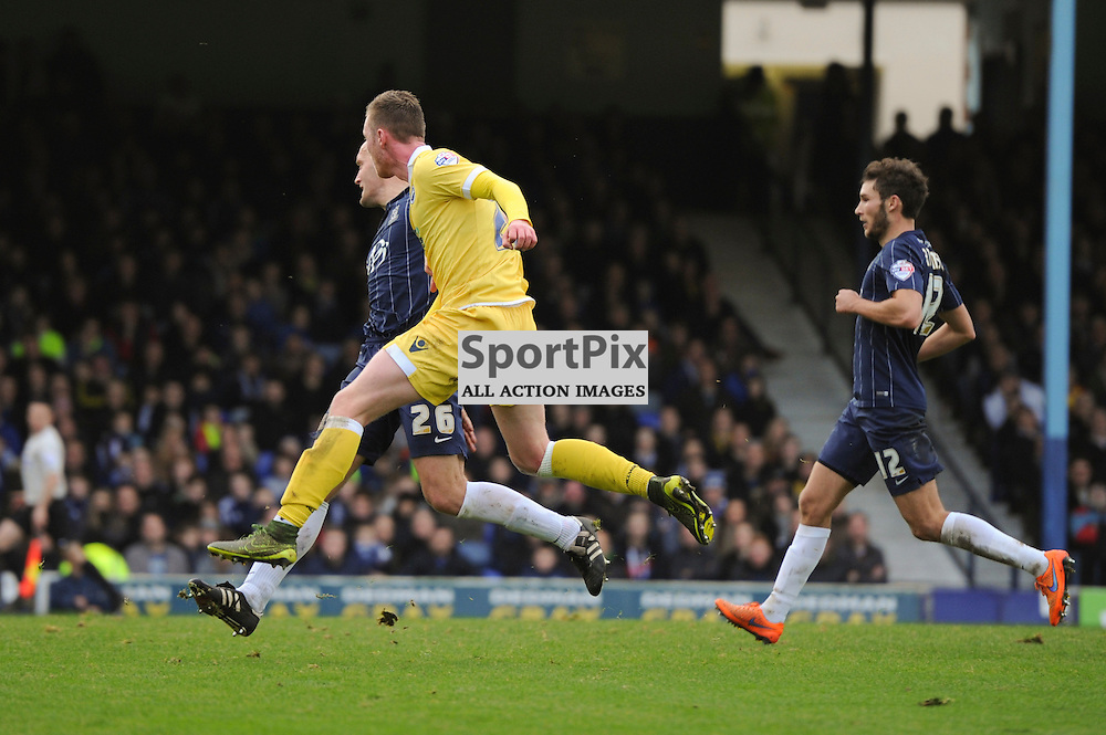 Millwalls Aiden O'Brien scores his sides fourth goal during the Southend v Millwall game in the Sky Bet League 1 on the 28th December 2015.