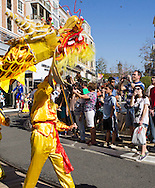 Dragon dancers perform a during parade to celebrate the upcoming Spring Festival or Chinese New Year at The Americana at Brand in Glendale, California, Sunday, February 15, 2015. <br /> (Photo by Ringo Chiu/PHOTOFORMULA.com)