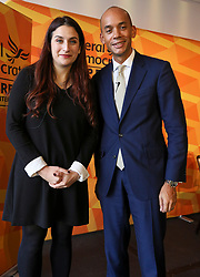 © Licensed to London News Pictures. 14/11/2019. London, UK. Chuka Umunna and Luciana Berger pose for the camera after their speeches at Glaziers Hall, London for the Lib Dems Press Conference on Equalities and Human Rights. Lib Dems unveils the party's Plan for Equalities and Human Rights. The plan is at the heart of the party's vision to build a brighter future for everyone. Photo credit: Alex Lentati/LNP