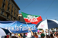 Rome 12 May 2007.People demonstraes during the 'Day of the Family' protest against a government plan to grant homosexual couples legal status, in front of the Basilica of Saint John Lateran in Rome .The flag Forza Italia party