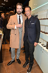 Left to right, JACK GUINNESS and ROBERT TATEOSSIAN at a party in celebration of LCM 2015 and the launch of the Tateossian's first ever men's-only boutique at 55 Sloane Square, London on 10th January 2015.