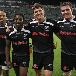 DURBAN, SOUTH AFRICA - MAY 08:  Odwa Ndunganeu with Lwazi Mvovo Ryan Kankowski 50th cap  and Steven Sykes<br /> during the Super 14 match between Sharks and Vodacom Stormers from Absa Stadium on May 08, 2010 in Durban, South Africa.<br /> Photo by Steve Haag / Gallo Images