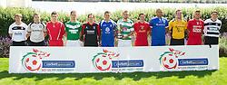 CARDIFF, WALES - Tuesday, August 14, 2012: Representatives of the twelve clubs launch the 2012/2013 Welsh Premier League at the St. David's Hotel. L-R: Craig Jones (Gap Connah's Quay), Tom Field (Airbus UK), Mark Jones (Afan Lido), Stuart Jones (Aberystwyth Town), Neil Gibson (Prestatyn Town), Lee Idzi (Bangor City), Greg Draper (The New Saints), Antonio Corbisiero (Llanelli AFC), Cortez Belle (Port Talbot Town), Paul Fowler (Carmarthen Town), Shane Sutton (Newtown AFC), Ashley Morris (Bala Town). (Pic by David Rawcliffe/Propaganda)