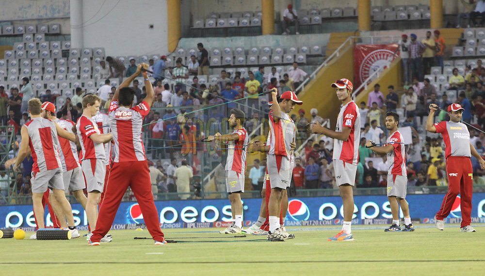 Kings XI Punjab  players during match 48 of the Pepsi Indian Premier League Season 2014 between the Kings XI Punjab and the Mumbai Indians held at the Punjab Cricket Association Stadium, Mohali, India on the 21st May  2014<br /> <br /> Photo by Arjun Panwar / IPL / SPORTZPICS<br /> <br /> <br /> <br /> Image use subject to terms and conditions which can be found here:  http://sportzpics.photoshelter.com/gallery/Pepsi-IPL-Image-terms-and-conditions/G00004VW1IVJ.gB0/C0000TScjhBM6ikg
