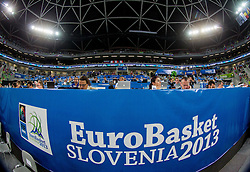 Press tribune during basketball match between National teams of Slovenia and France in Quarterfinals at Day 15 of Eurobasket 2013 on September 18, 2013 in Arena Stozice, Ljubljana, Slovenia. (Photo by Vid Ponikvar / Sportida.com)