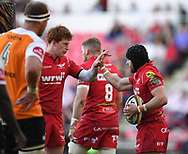 Scarlets Rhys Patchell congratulates Leigh Halfpenny<br /> <br /> Photographer Mike Jones/Replay Images<br /> <br /> Guinness PRO14 Round 22 - Scarlets v Cheetahs - Saturday 5th May 2018 - Parc Y Scarlets - Llanelli<br /> <br /> World Copyright &copy; Replay Images . All rights reserved. info@replayimages.co.uk - http://replayimages.co.uk