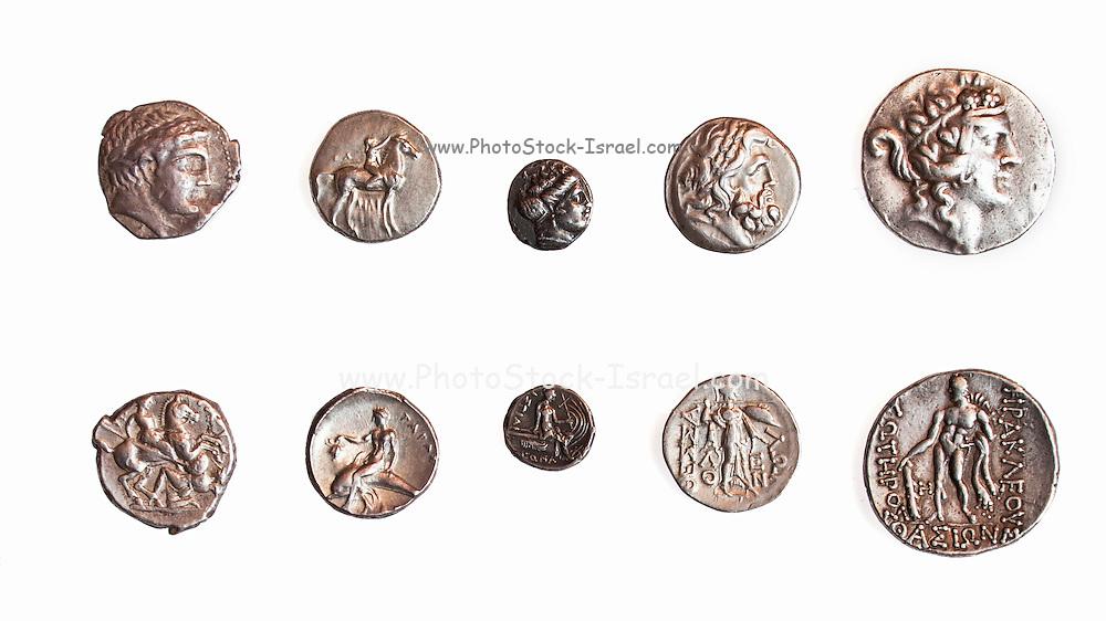 Ancient Greek coins 1st - 3rd century BCE. Left to Right 1. Patraos 340-315 BCE. 2. Calabria, Taras, 3rd Century BCE. 3. Euboia. Histiaia 3rd Century BCE. 4.Thessaly 196-146 BCE 5. Thrace, Thasos 2nd Century BCE