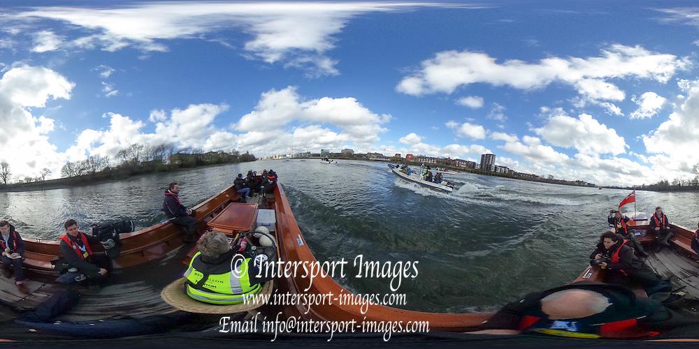 London. UNITED KINGDOM.  360 degree view of the The 71st Newton Women's Boat Race, in progress, on the Championship Course, River Thames, Putney/Mortlake.  Sunday  27/03/2016    [Mandatory Credit. Intersport Images]<br /> <br /> Oxford University Women's Boat Club {OUWBC} vs Cambridge University Women's Boat Club {CUWBC} <br /> <br /> Oxford, Crew Cox &ndash; Morgan Baynham-Williams, Stroke &ndash; Lauren Kedar, 7 &ndash; Maddy Badcott, 6 &ndash; Anastasia Chitty, 5 &ndash; Elo Luik, 4 &ndash; Ruth Siddorn, 3 &ndash; Joanneke Jansen, 2 &ndash; Emma Spruce, Bow &ndash; Emma Lukasiewicz<br /> <br /> Cambridge, Crew Bow Ashton Brown, 2 Fiona Macklin, 3 Alice Jackson, 4 Thea Zabell, 5 Daphne Martschenko, 6 Myriam Goudet, 7 Hannah Roberts, Stroke Zara Goozee, Cox Rosemary Ostfeld.