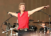 Jon Bon Jovi of Bon Jovi performs live on stage during day one of 'British Summer Time Hyde Park' presented by Barclaycard at Hyde Park on July 5, 2013 in London, England.  (Photo by Simone Joyner)