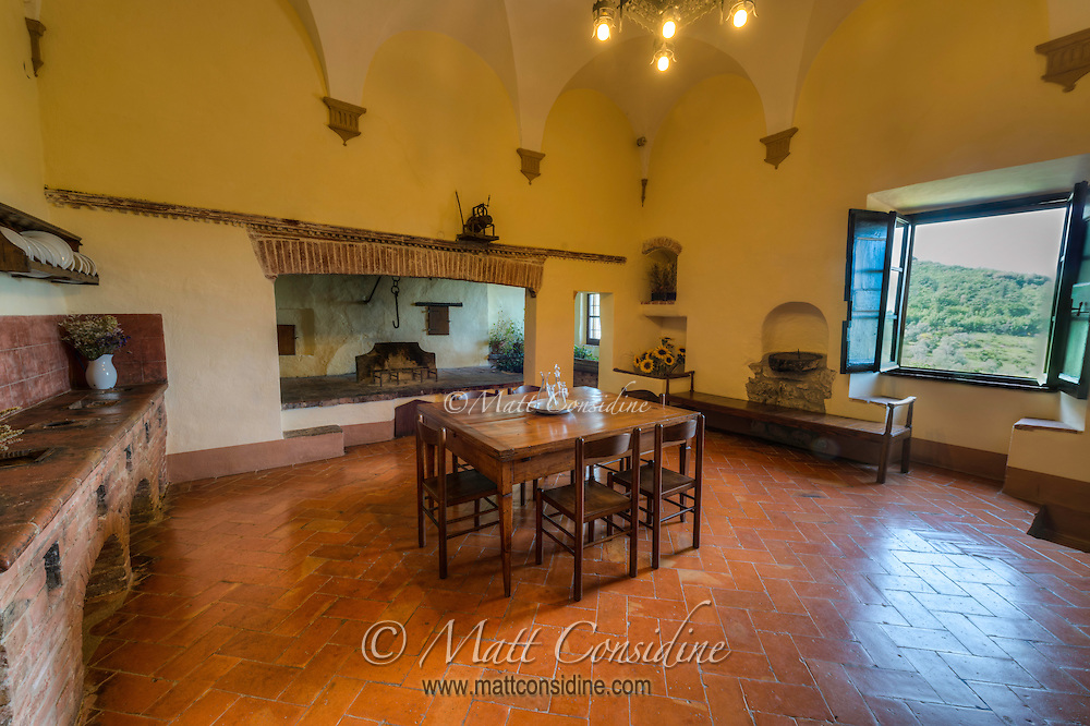 Old style kitchen in Sant Anna in Camprena which featured briefly in the film The English Patient. (Photo by Travel Photographer Matt Considine)