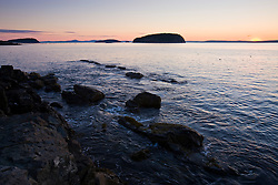 Dawn in Frenchman Bay as seen from Dorr Point in Maine's Acadia National Park.
