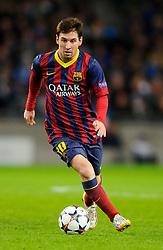 Barcelona Midfielder Lionel Messi (ARG) in action - Photo mandatory by-line: Rogan Thomson/JMP - Tel: 07966 386802 - 18/02/2014 - SPORT - FOOTBALL - Etihad Stadium, Manchester - Manchester City v Barcelona - UEFA Champions League, Round of 16, First leg.