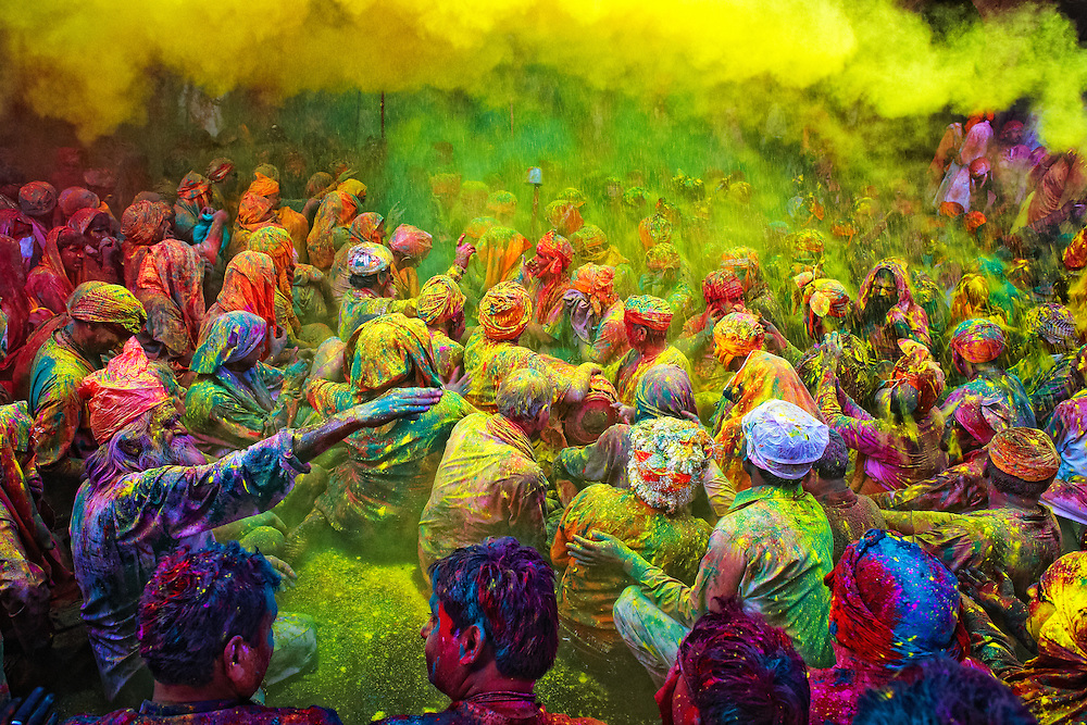 The festival of Holi is a religious festival. People sing bhajans of Radha and Lord Krishna on this day and it marks the beginning of Spring Season in india.<br /> <br /> Here you can see a gathering of people singing folk songs during Holi (Festival of Colors), India...