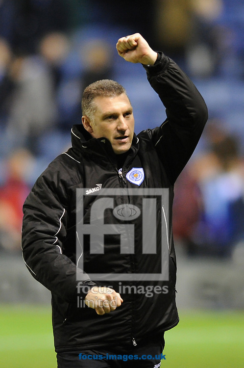 Leicester - Saturday December 22th, 2008: Leicester City manager, Nigel Pearson, celebrates his teams victory after the Coca Cola League One match at The Walkers Stadium, Leciester. (Pic by Alex Broadway/Focus Images)