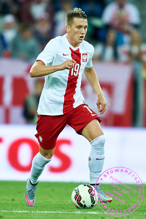 Piotr Zielinski from Poland controls the ball during international friendly soccer match between Poland and Greece at PGE Arena Stadium on June 16, 2015 in Gdansk, Poland.<br /> Poland, Gdansk, June 16, 2015<br /> <br /> Picture also available in RAW (NEF) or TIFF format on special request.<br /> <br /> For editorial use only. Any commercial or promotional use requires permission.<br /> <br /> Adam Nurkiewicz declares that he has no rights to the image of people at the photographs of his authorship.<br /> <br /> Mandatory credit:<br /> Photo by &copy; Adam Nurkiewicz / Mediasport