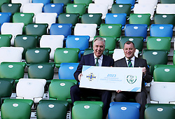 FAI Chief Executive John Delaney (left) and Irish FA Chief Executive Patrick Nelson during the announcement at Windsor Park, Belfast, that the FAI & IFA will perform a joint bid for the 2023 UEFA U21 Championship.