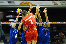 08.01.2016, Max Schmeling Halle, Berlin, GER, CEV Olympia Qualifikation, Frankreich vs Bulgarien, im Bild Im Blck: Benjamin?Toniutti (#6, Frankreich/France), Kevin le Roux (#10, Frankreich/France) und Earvin?Ngapeth (#9, Frankreich/France) // during 2016 CEV Volleyball European Olympic Qualification Match between France and Bulgaria at the  Max Schmeling Halle in Berlin, Germany on 2016/01/08. EXPA Pictures © 2016, PhotoCredit: EXPA/ Eibner-Pressefoto/ Wuechner<br /> <br /> *****ATTENTION - OUT of GER*****