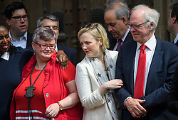 © London News Pictures. 09/05/2016. London, UK.  Labour MP STELLA CREASY (centre) joins other Labour MPs outside the Houses of Parliament in London to greet new MPs Chris Elmore and Gill Furniss following elections last week. Photo credit: Ben Cawthra/LNP