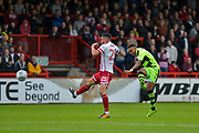 Forest Green Rovers Keanu Marsh-Brown(7) with a shot at goal during the EFL Sky Bet League 2 match between Stevenage and Forest Green Rovers at the Lamex Stadium, Stevenage, England on 21 October 2017. Photo by Adam Rivers.